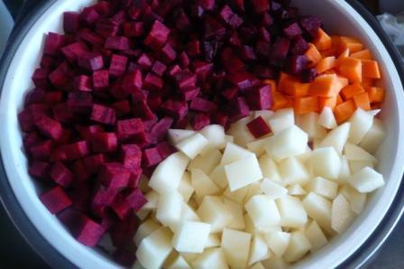 Овощи для винегрета в мультиварке